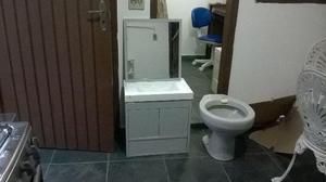 Conjunto de pia e vaso para banheiro cinza chumbo  Posot Class -> Jogo De Banheiro Pia E Vaso