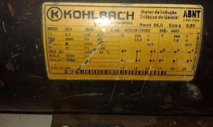 Motor Trifásico 5,0cv e jacaré