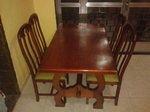 Tudo madeira maciça mesa e base1mt40x80 4cadeira assento na