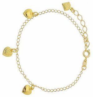 Pulseira folheada a ouro c/ pingentes em forma de coração