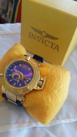 Relógio Invicta Dourado Pulseira em azul