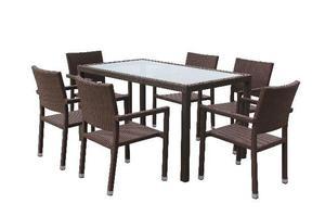 Conjunto Fibra Sintética Luxo Mesa De Jantar + 6 Cadeiras