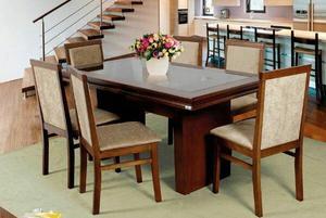 Conjunto Sala de Jantar Mesa e 6 Cadeiras