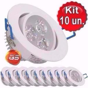 Kit 10 Croica Led 3w Lâmpada Direcionável Branco Frio