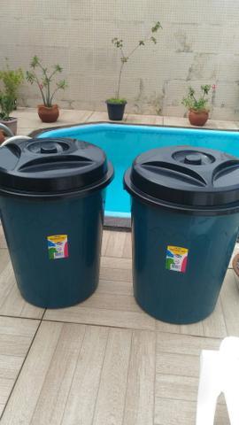 Balde plastico de 100 litros com tampa maior capacidade
