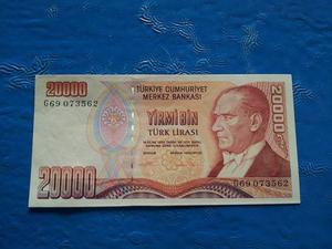 CÉDULA  Lira von der Türkei - Yirmi Bin Türk Lirasi