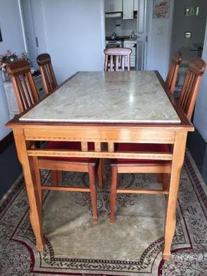Mesa De Jantar Estilo Antigo Marchetada Com 6 Cadeiras