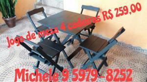 Mesas e cadeiras em Madeira Maciça dobráveis
