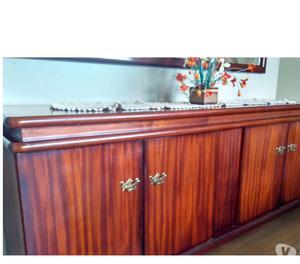Conjunto mesa, buffet, espelho em madeira maciça mogno