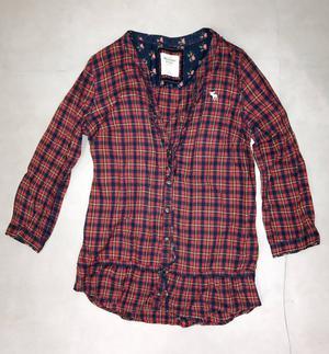 Camisa manga comprida xadrez azul vermelho Abercrombie