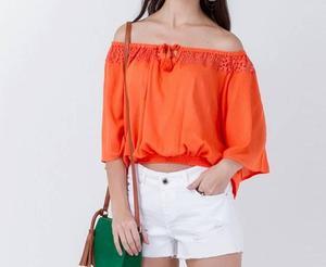 Tamanho p marca sem marca condição usado blusa ciganinha laranja fbff29db785