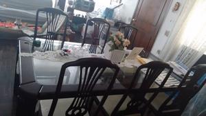 Mesa de Jantar 6 lugares em Mogno c/ vidro