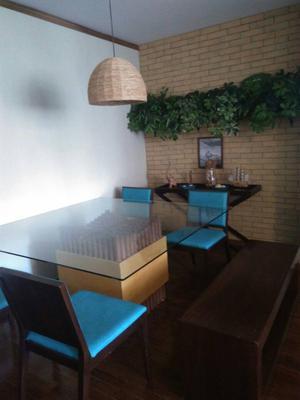 Mesa de Jantar em Madeira Maciça e Tampo de Vidro