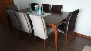 Mesa de jantar + 8 cadeiras estofadas