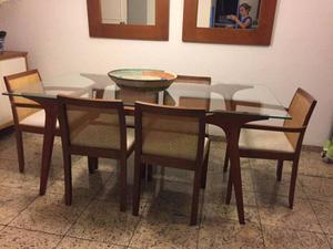 Mesa de jantar gávea 6 lugares Tok Stok madeira