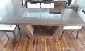 Mesa de jantar nova madeira e vidro