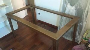 Mesa de madeira com tampo de vidro + 6 cadeiras