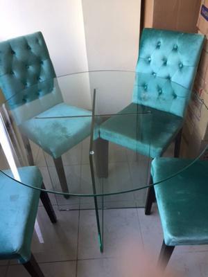 Mesa jantar + 4 cadeiras azuis