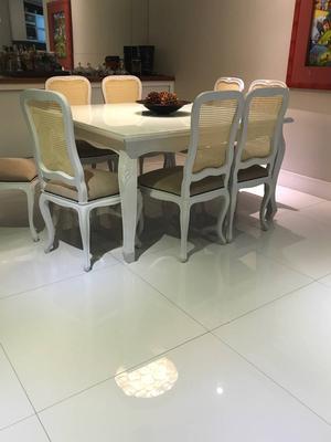 conjunto mesa e 8 cadeiras de jantar