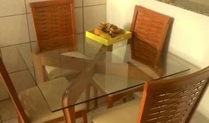 mesa Madeira com tampo de vidro