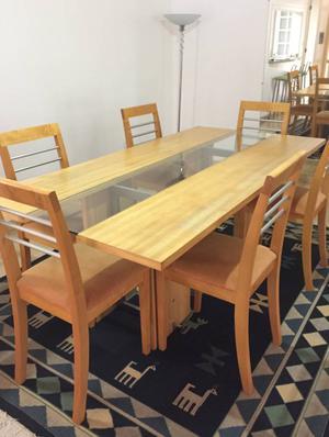 mesa de jantar em madeira p/6 lugares