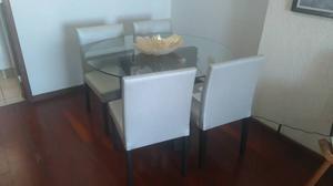 mesa vidro redonda com 4 cadeiras