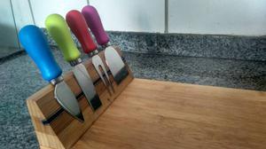 Tábua de queijo de bambu com imã e garfos de corte