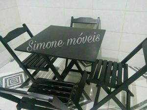 Mesa dobrável 70X70 conjunto 4 cadeiras Promoçao novo