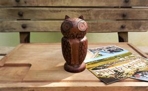 coruja antiga de madeira.