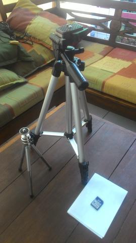 Tripé Em Alumínio 1,20cm +Mini Tripe Camera ou Celular
