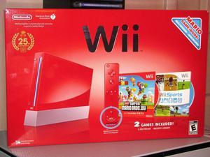 Nintendo Wii Vermelho Original Edição Mario Especial 25