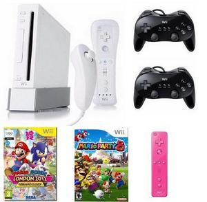 Nintendo Wii Destravado + 5 Controles + 2 Jogos