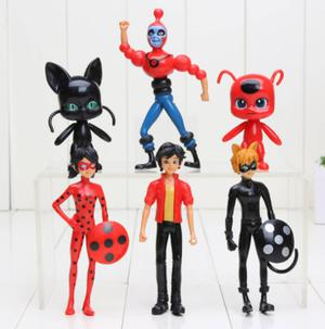 Adorogeek Kit Lady Bug Cat Noir Miraculous 6 Personagens Pvc