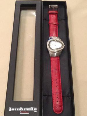 relógio lambretta milio mid com pulseira de couro vermelho
