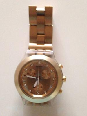 7985e12c7a5 Swatch irony full blooded dourado original