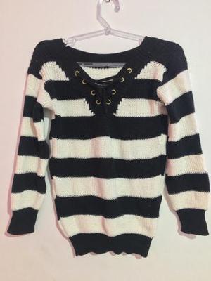 Blusão de tricot preto e branco!