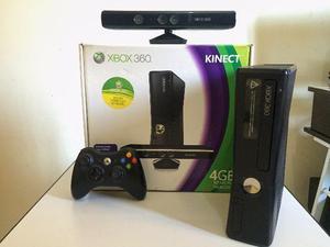 Xbox 360 Slim 4GB Desbloqueado + Kinect + Tudo original