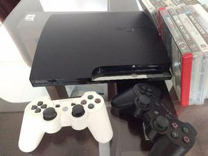 PS3 + Jogos + 2 Controle + Guitarra (Guitar Hero)