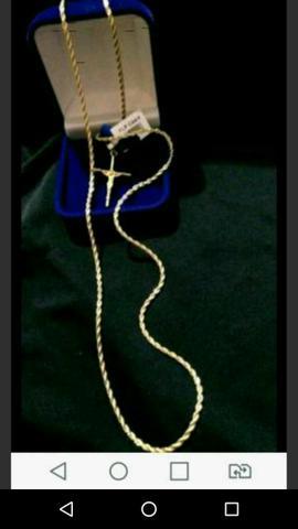 Lindo cordão banhado a ouro 18k novo garantia 2 anos