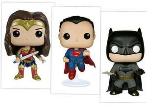 Funko Pop Batman, M. Maravilha, Superman e C. América