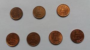 Lote de moedas de 1 centavo do ano de