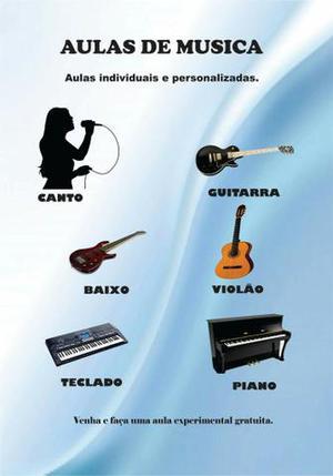 Aulas de canto, guitarra, violão, baixo, piano e teclado