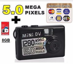 Mini Camera 5 Mega Pixels Espiã + Cartão 8GB