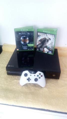 Xbox one 500gb 1 controle e jogos