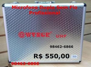 Microfone Sem Fio Duplo Wireless Pró Uhf Case Sm 58