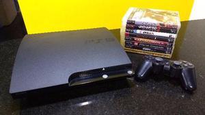 Playstation 3 com 8 jogos, cabo HDMI e 1 controle