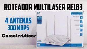 Roteador Multilaser 300Mbps Bi-Volt 4 Antenas Fixas 200Mw -