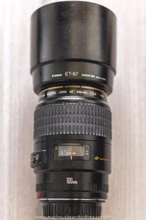 Lente Canon Ef 100mm F/2.8 Usm Macro, com parasol, perfeita