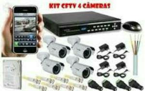 Kit 4 câmeras AHD, completo e instalado. confira