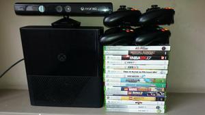 Xbox 360, com Kinect, 4 controles e 15 jogos